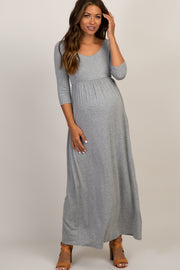 Grey 3/4 Sleeve Maternity Maxi Dress