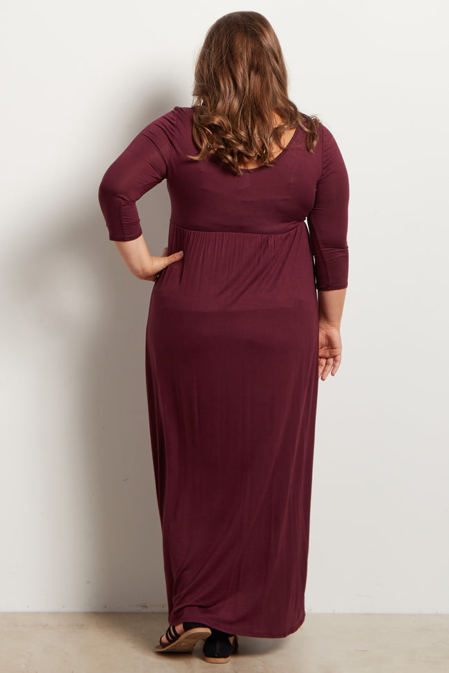 Burgundy 3/4 Sleeve Plus Maternity Maxi Dress