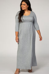 Grey 3/4 Sleeve Plus Maternity Maxi Dress