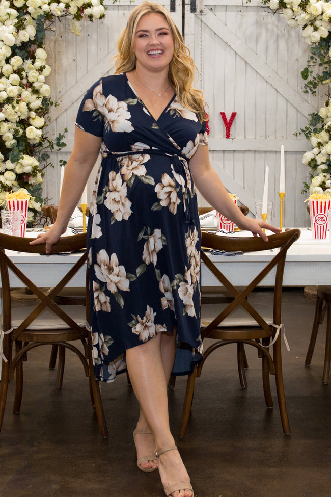 PinkBlush Navy Blue Floral Hi-Low Plus Maternity Wrap Dress