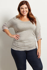 Heathered Grey Crochet Sleeve Fitted Plus Size Maternity Top