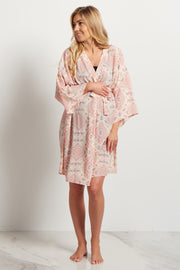 Pink Bohemian Delivery/Nursing Maternity Robe