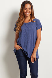 Navy Blue Distressed Short Sleeve Top