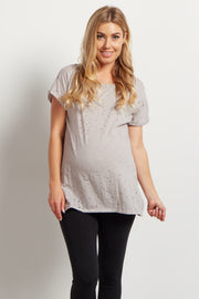 Grey Distressed Short Sleeve Maternity Top