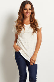 Ivory Distressed Short Sleeve Top