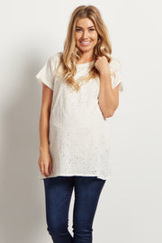 Ivory Distressed Short Sleeve Maternity Top
