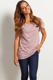 Mauve Distressed Short Sleeve Top