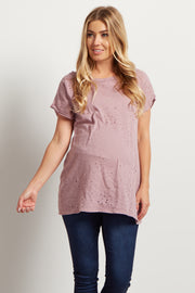 Mauve Distressed Short Sleeve Maternity Top