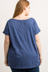 Navy Blue Distressed Short Sleeve Plus Top