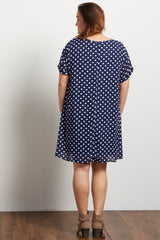 Navy Polka Dot Plus Maternity Dress