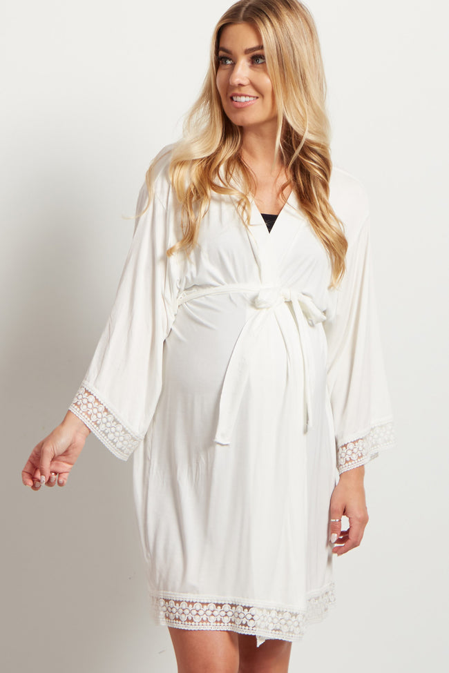 PinkBlush Ivory Lace Trim Delivery/Nursing Maternity Robe