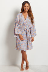 Blue Little Flowers Delivery/Nursing Maternity Robe