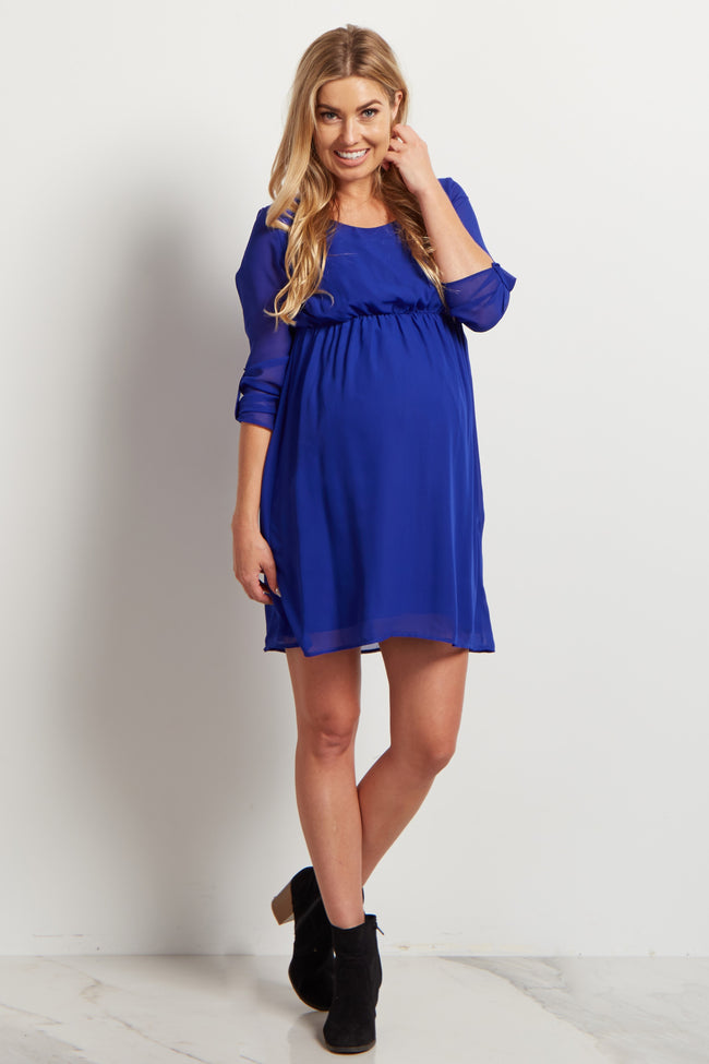 Royal Blue Chiffon 3/4 Sleeve Maternity Dress