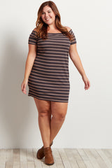Charcoal Grey Striped Off The Shoulder Plus Size Dress