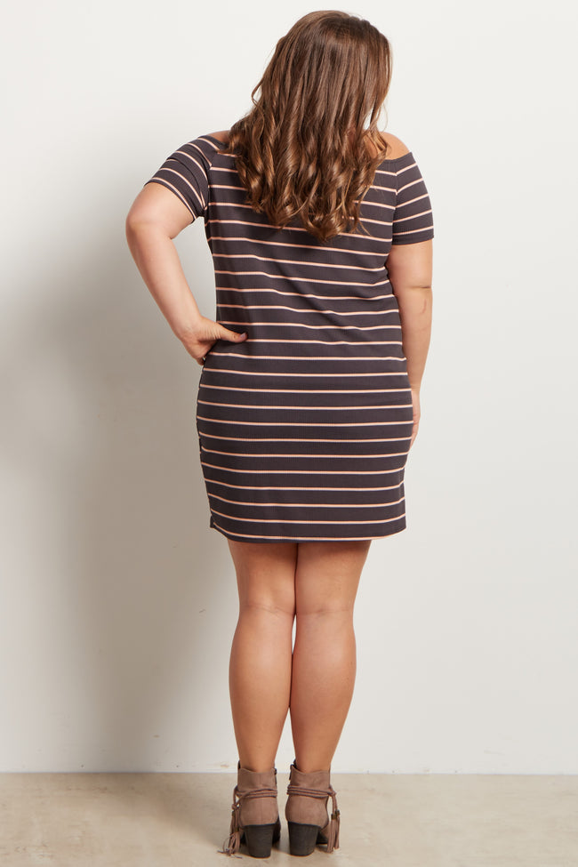 Charcoal Grey Striped Off The Shoulder Plus Size Maternity Dress