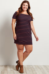 Navy Blue Striped Off The Shoulder Plus Size Dress