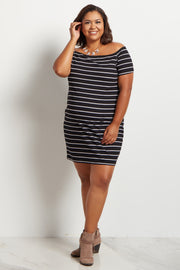 Black Striped Off Shoulder Plus Size Maternity Dress