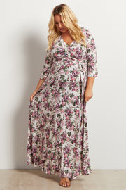 White Vintage Floral Plus Maternity/Nursing Maxi Dress