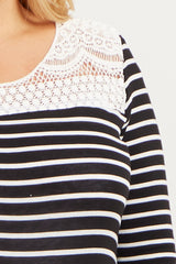Black Striped Crochet Accent Plus Size Maternity Top