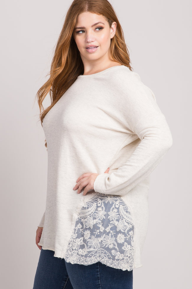 Ivory Knit Lace Accent Plus Size Top