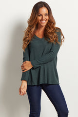 Green Solid V-Neck Long Sleeve Knit Maternity Top
