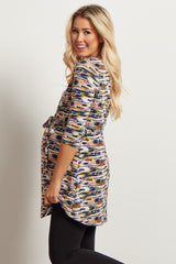 Teal Printed Sash Tie Maternity Top