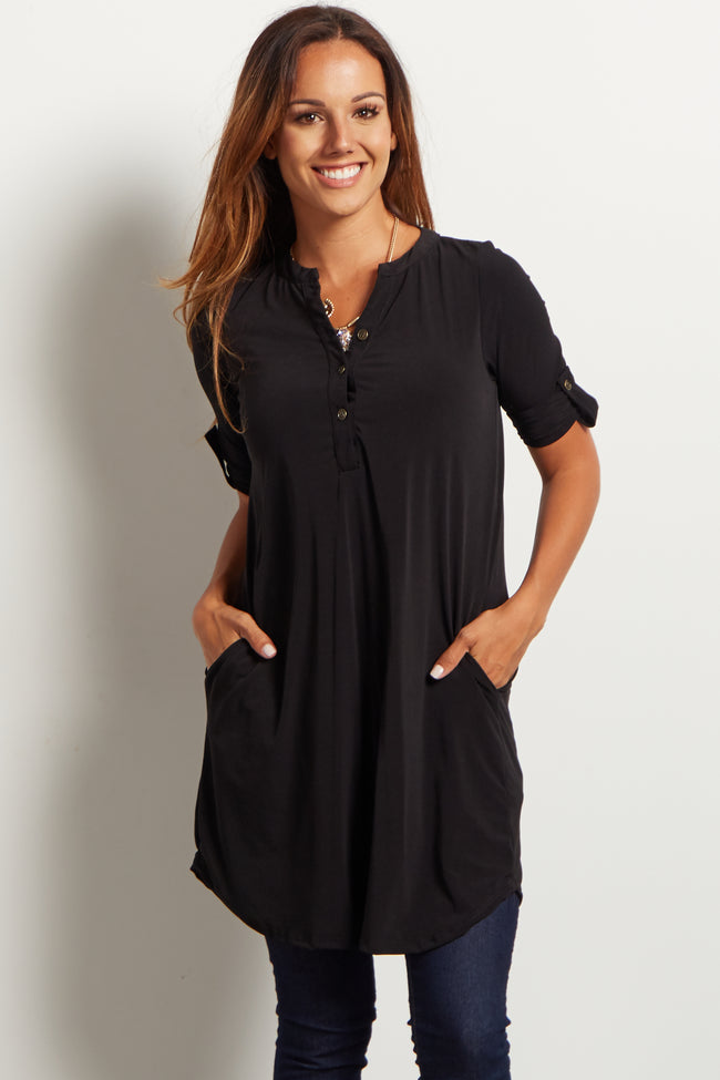 Black Button Front 3/4 Sleeve Maternity Tunic