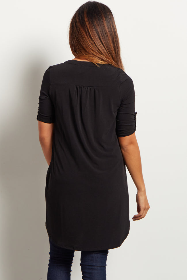 Black Button Front 3/4 Sleeve Tunic