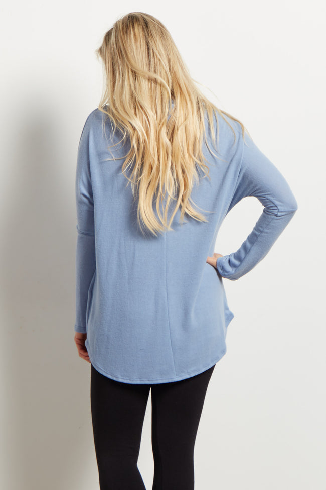 Blue Cowl Neck Soft Knit Maternity Top