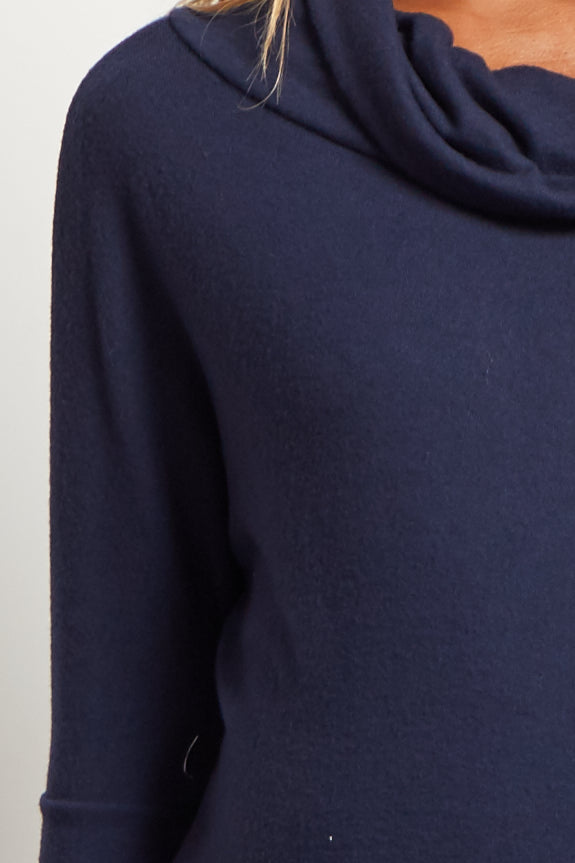 Navy Blue Cowl Neck Soft Knit Maternity Top