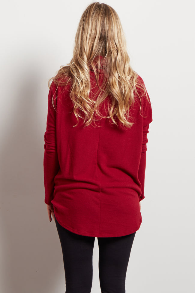 Burgundy Cowl Neck Soft Knit Maternity Top