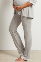 Grey Lace Trim Maternity Pajama Pants