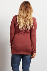 Rust Cross Front Plus Size Maternity/Nursing Top