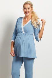 Light Blue Lace Trim Maternity Pajama Top
