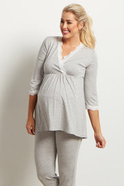 Grey Lace Trim Maternity Pajama Top