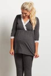 Charcoal Lace Trim Maternity Pajama Top