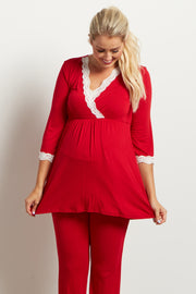 Red Lace Trim Maternity Pajama Top