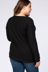 PinkBlush Black Soft Knit Plus Maternity Top