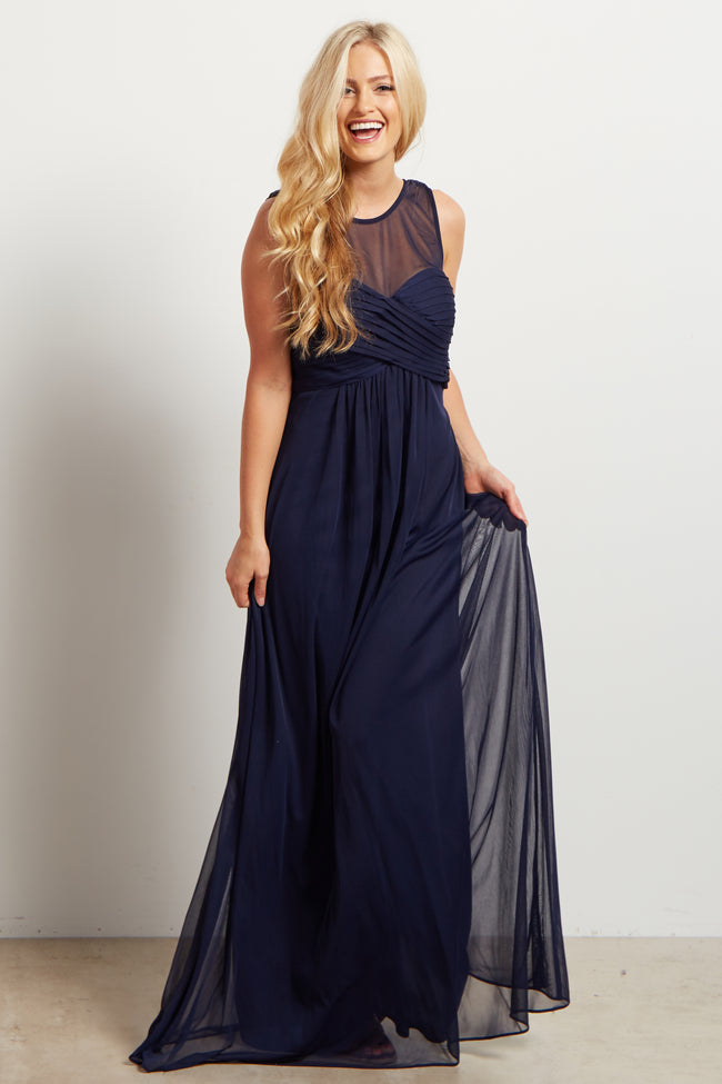 Navy Mesh Neckline Ruched Bust Maternity Evening Gown