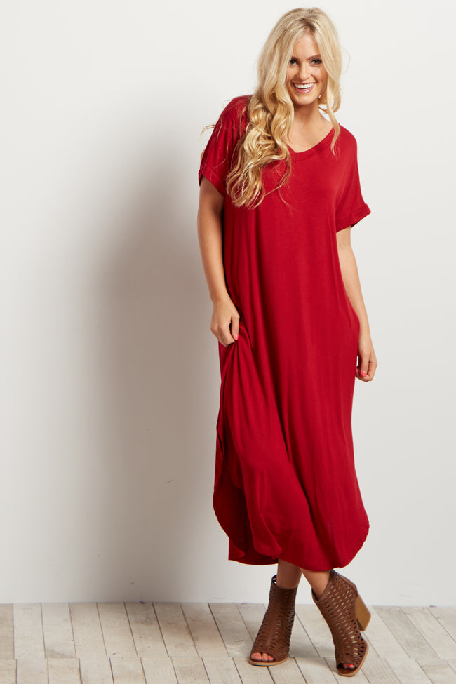 Red Solid Short Sleeve Midi Dress