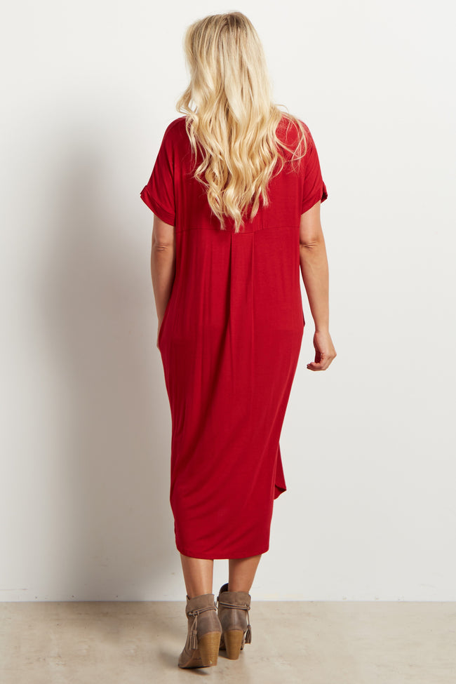 Red Solid Short Sleeve Maternity Midi Dress