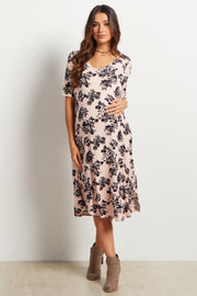 Pink Floral Print Short Sleeve Maternity Dress