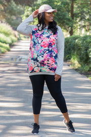 Grey Neon Floral Hooded Maternity Plus Top