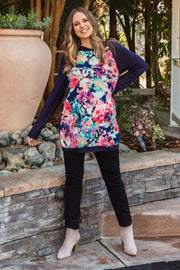 Navy Blue Neon Floral Hooded Plus Maternity Top