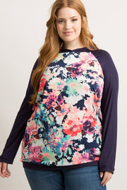 Navy Blue Neon Floral Hooded Plus Top