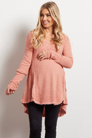 Pink Cold Shoulder V-Neck Long Sleeve Maternity Knit Sweater Top
