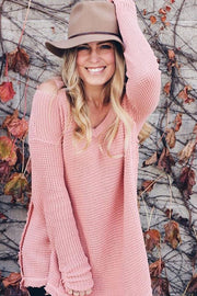 Pink Cold Shoulder V-Neck Long Sleeve Knit Sweater Top