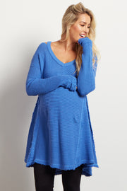 Blue Cold Shoulder Long Sleeve Maternity Knit Top