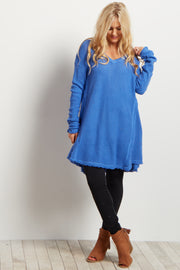 Blue Cold Shoulder V-Neck Long Sleeve Knit Sweater Top