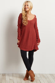 Rust Cold Shoulder V-Neck Long Sleeve Knit Sweater Top